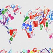 World Map Music 3 Art Print