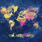 World Map Oceans And Continents Art Print