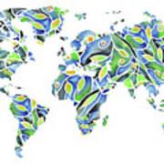 World Map Organic Green And Blue Art Print