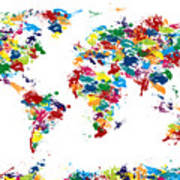 World Map Paint Drops Art Print by Michael Tompsett
