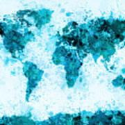 World Map Paint Splashes Blue Art Print