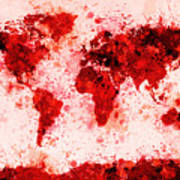 World Map Paint Splashes Red Art Print