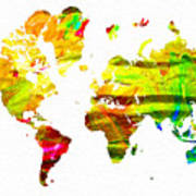 World Map Painted Art Print