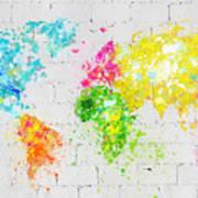 World Map Painting On Brick Wall Art Print