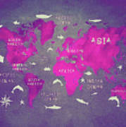 World Map Pink Art Print