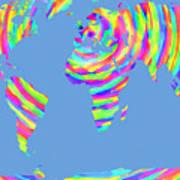 World Map Radial Eurocentric Art Print