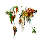World Map Running Paint 01 Art Print