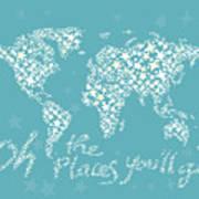 World Map White Star Turquoise Art Print