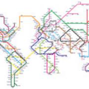 World Metro Tube Subway Map Poster By Michael Tompsett