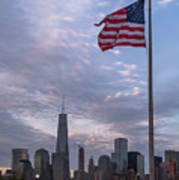 World Trade Center Freedom Tower New York City American Flag Art Print