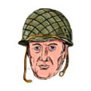 World War Two American Soldier Head Drawing Art Print