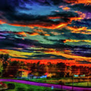 World's Most Psychedelic Autumn Sunsset Art Print