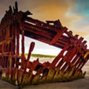 Worn Rusting Shipwreck Art Print