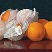 Wrapped Oranges On A Tabletop Art Print