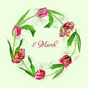 Wreath With Tulips Art Print