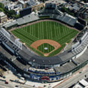 Wrigley Field In Chicago Aerial Photo Art Print