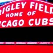 Wrigley Field Sign Print by Marsha Heiken
