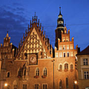 Wroclaw Old Town Hall At Night Art Print