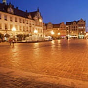 Wroclaw Old Town Market Square At Night Art Print