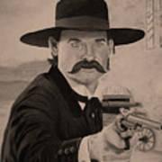 Wyatt Earp - Kurt Russell B And W Art Print