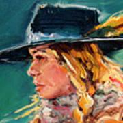 Wyoming Cowgirl Close Art Print