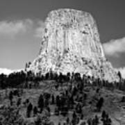 Wyoming Devils Tower National Monument With Climbers Bw Art Print