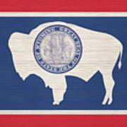 Wyoming Rustic Flag On Wood Art Print