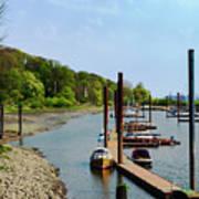 Yacht Harbor On The River. Film Effect Art Print