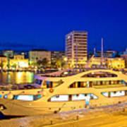 Yacht In Zadar Harbor Evening View Art Print