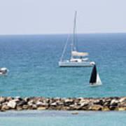 yacht sailing in the Mediterranean sea Art Print