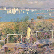 Yachts In Gloucester Harbor Art Print by Childe Hassam