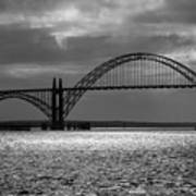 Yaquina Bay Bridge Black And White Art Print