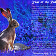 Year Of The Rabbit 2011 . Blue Art Print