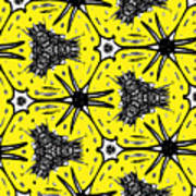 Yellow And Black Abstract Art Print