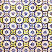 Yellow And Blue Circle Tile Art Print