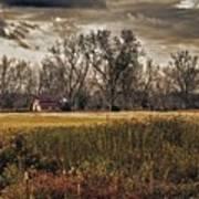 Yellow Barn And The Field Art Print