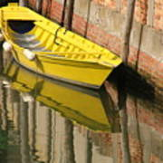 Yellow Boat In Venice Art Print