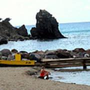 Yellow Boat On The Beach Art Print