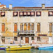 Yellow Boat - Venice Italy Art Print