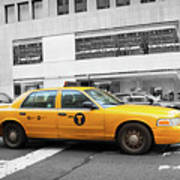 Yellow Cab In Manhattan With Black And White Background Art Print