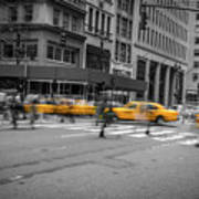 Yellow Cab On Fifth Avenue, New York 4 Art Print