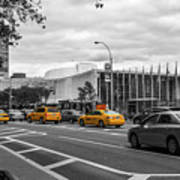 Yellow Cabs By The United Nations, New York 2 Art Print