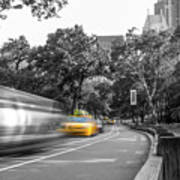 Yellow Cabs In Central Park, New York 3 Art Print
