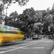 Yellow Cabs In Central Park, New York 4 Art Print