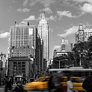 Yellow Cabs In Midtown Manhattan, New York Art Print