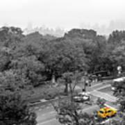 Yellow Cabs Near Central Park, New York Art Print