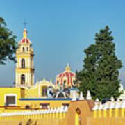 Yellow Church In Cholula, Mexico Art Print