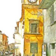 Yellow Clock Tower Art Print