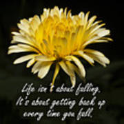 Yellow Flower With Inspirational Text Art Print