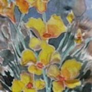 Yellow Flowers At Arboretum Art Print